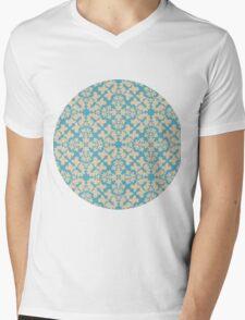 Vintage wallpaper pattern. Abstract floral ornament. Mens V-Neck T-Shirt