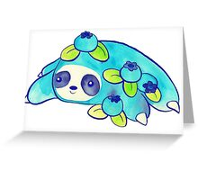 Watercolor Blueberry Sloth Greeting Card