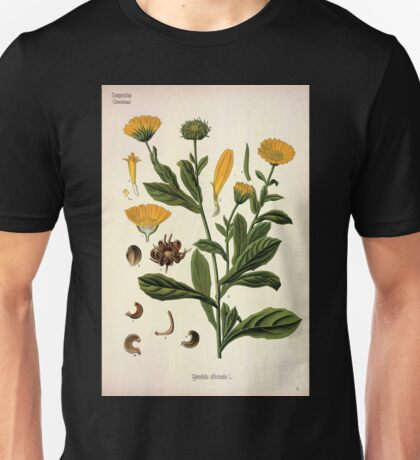 Köhler's Medizinal Pflanzen in naturgetreuen Abbildungen mit kurz erläuterndem Texte  Atlas zur Pharmacopoea 1883 1914 V3 061 Calendula Officinalis Unisex T-Shirt