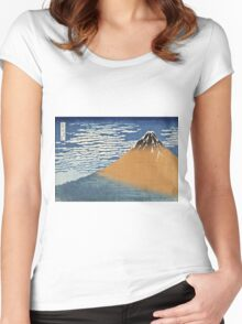 Vintage famous art - Hokusai Katsushika - South Wind, Clear Dawn Women's Fitted Scoop T-Shirt