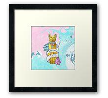 Cats Egypt Pyramid Gold Kitten Pets tabby tumblr gold typography kawaii meow print Framed Print