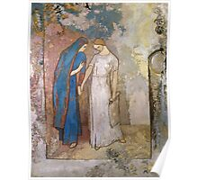 Vintage famous art - Odilon Redon - Initiation To Study - Two Young Ladies Poster