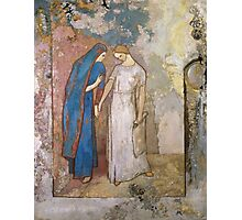 Vintage famous art - Odilon Redon - Initiation To Study - Two Young Ladies Photographic Print