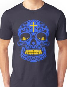 ORNATE MEXICAN SKULL (BLUE) Unisex T-Shirt