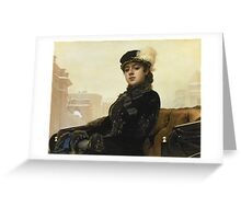 Vintage famous art - Ivan Kramskoy - Portrait Of An Unknown Woman Greeting Card