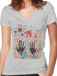 Spring Bird  Women's Fitted V-Neck T-Shirt