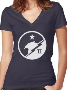 Blue Team White Women's Fitted V-Neck T-Shirt