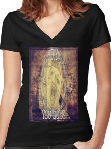 Hey You Guys Authentic Gold Sloth Women's Fitted V-Neck T-Shirt