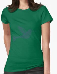 Navy Blue Flying Humming BIrd  Womens Fitted T-Shirt