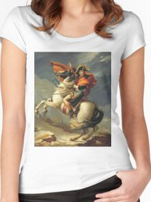 Vintage famous art - Jacques-Louis David - Napoleon Crossing The Alps Women's Fitted Scoop T-Shirt