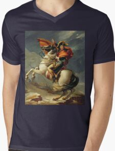 Vintage famous art - Jacques-Louis David - Napoleon Crossing The Alps Mens V-Neck T-Shirt