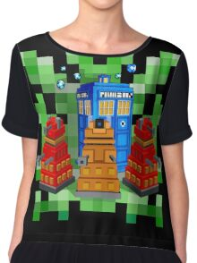 8bit Robot Droid Dalek with blue phone box Chiffon Top