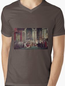 Vintage famous art - Jacques-Louis David - The Consecration Of The Emperor Napoleon And The Coronation Of The Empress Josephine  Mens V-Neck T-Shirt
