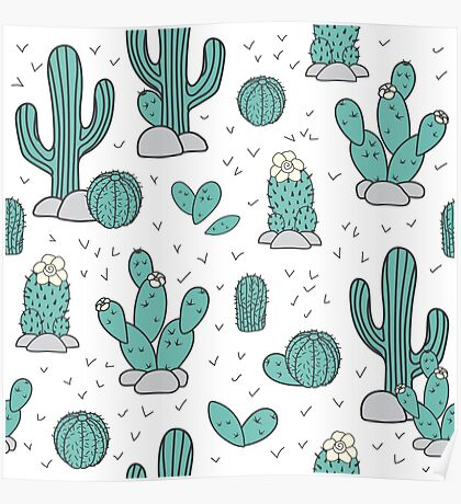 Pattern with cacti Poster