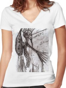Spine man  Women's Fitted V-Neck T-Shirt