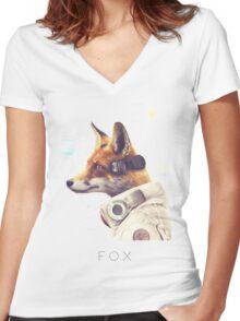 Star Team - Fox Women's Fitted V-Neck T-Shirt