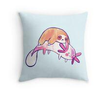 Little Sloth and Big Axolotl Watercolor Throw Pillow