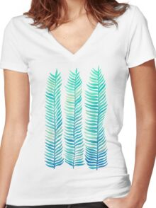 Seafoam Seaweed Women's Fitted V-Neck T-Shirt