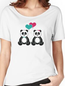 Panda Freefall in Pink Women's Relaxed Fit T-Shirt