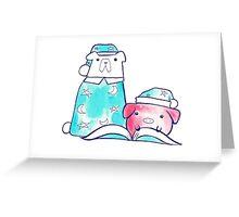 Bedtime Polar Bear and Pig Watercolor Greeting Card