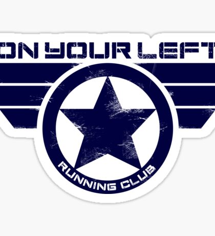 """On Your Left Running Club"" Hybrid Distressed Print 1 Sticker"