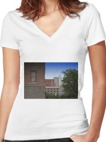 Dallas Architecture 17 Women's Fitted V-Neck T-Shirt