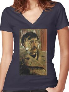 Vintage famous art - James Tissot - Self Portrait Women's Fitted V-Neck T-Shirt