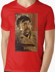 Vintage famous art - James Tissot - Self Portrait Mens V-Neck T-Shirt