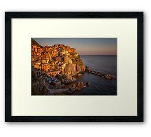 Manarola Dusk Cinque Terre Italy Framed Print