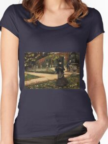 Vintage famous art - James Tissot - The Letter: vintage romantic gift, impressionism canvas paintings, retro wedding gift ideas Women's Fitted Scoop T-Shirt