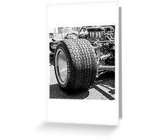 Vintage racing car tire Greeting Card
