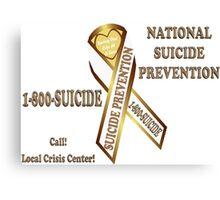 Prevent Suicide Ribbon Banner Canvas Print