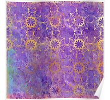 Pop Painted Watercolor - Bright and Bold purple and gold pattern Poster