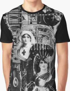Parisian Statue with Machine Gun. Graphic T-Shirt
