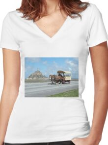 Horse & Carriage - Mont St. Michel, Normandy, France Women's Fitted V-Neck T-Shirt
