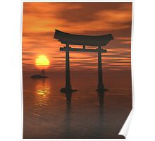 Japanese Floating Torii Gate at a Shinto Shrine, Sunset Poster
