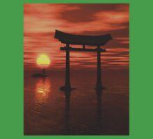 Japanese Floating Torii Gate at a Shinto Shrine, Sunset One Piece - Short Sleeve