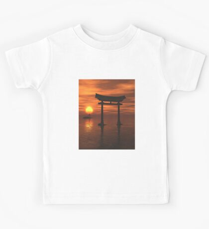 Japanese Floating Torii Gate at a Shinto Shrine, Sunset Kids Tee