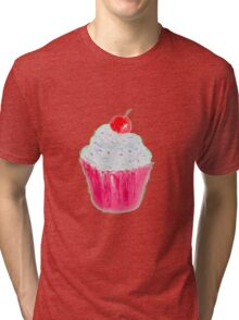 Cupcake with frosting and cherry Tri-blend T-Shirt