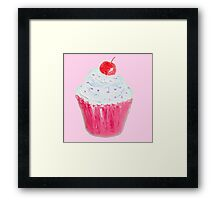 Cupcake with frosting on pink background Framed Print