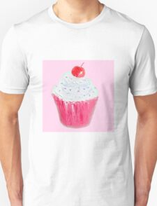 Cupcake with frosting on pink background Unisex T-Shirt