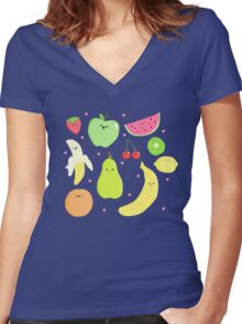 CUTE FRUIT! Women's Fitted V-Neck T-Shirt