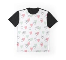 Pink and mint hearts pattern Graphic T-Shirt
