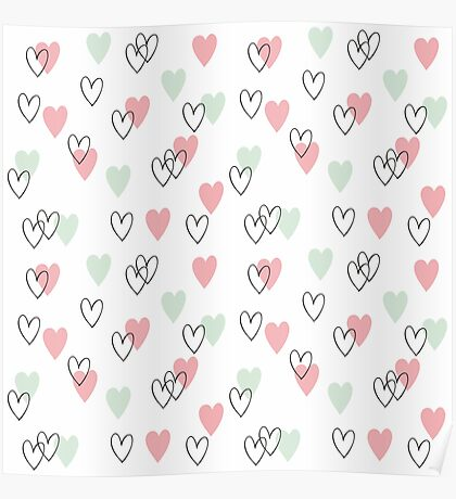 Pink and mint hearts pattern Poster