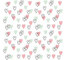 Pink and mint hearts pattern Photographic Print