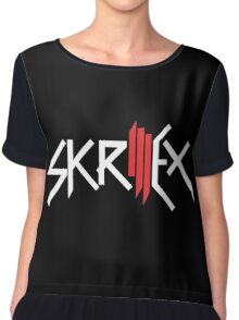 Skrillex | Logo| Black Background | High Quality! Chiffon Top