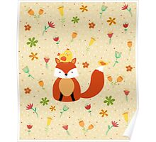 Fox - Flowers- Pattern Poster