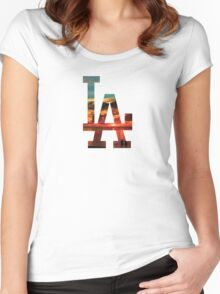 LA Beach White Women's Fitted Scoop T-Shirt