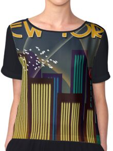 New York Travel Poster Chiffon Top