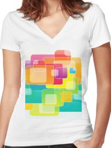 Colour Square Women's Fitted V-Neck T-Shirt